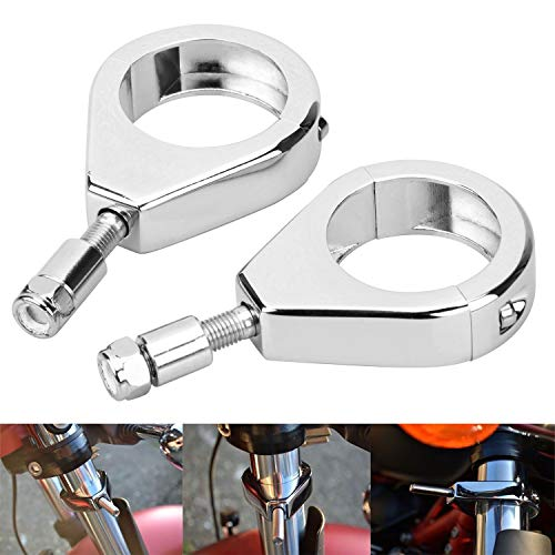 Bid4ze Chome Motorcycle Fork Clamp Turn Signal Clamps Compatible with Harley Softail Fat Bob Street Bob Mount Bracket 49mm Fork Tube