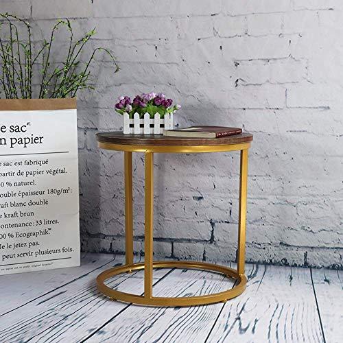 Home&Selected furniture/woonkamer bijzettafel, marmeren plaat, massief houten blad, salontafel, bijzettafel, nachtkastje 45 * 50 cm (kleur: goud, maat: massief houten tafelblad)