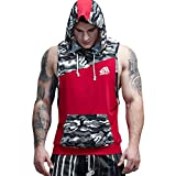 AIMPACT Cotton Tank Tops for Men Muscle Athletic Workout Shirt Bodybuilding Gym Tank Top Camouflage Sleeveless Hoodie (Red,XXL)