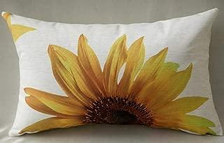 Cotton Linen Home Office Decorative Throw Waist Lumbar Pillow Case Cushion Cover Natural Yellow Sunflower Print Rectangle 12 X 20 Inches