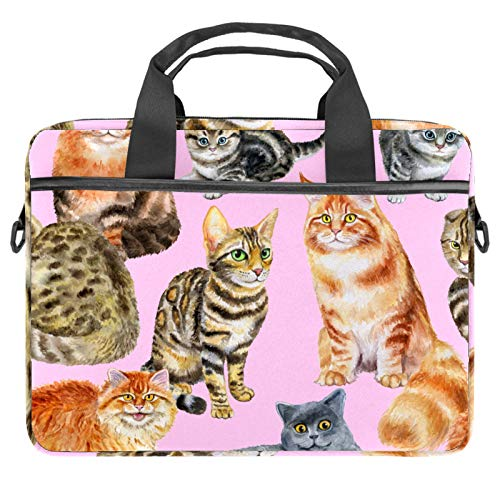 13-14.5 Inch Laptop Sleeve Case Watercolor Cats Pattern Protective Cover Bag Portable Computer Notebook Carrying Case Briefcase Message Bag