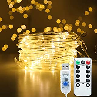 MINIAO Premium LED Rope Lights, IP65 Waterproof USB 5V Rope String Lights with Remote,8 Modes/Dimmable/Timer for DIY Wedding, Party, Garden, Yard, Corridor, Christmas Decorations (Warm White)