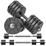 RUNWE Adjustable Dumbbells Barbell Set, Free Weight Set with Steel Connector at Home/Office/Gym Fitness Workout Exercises Training, All-Purpose for Men/Women/Beginner/Pro(100 lbs-2 Dumbbells in Total)