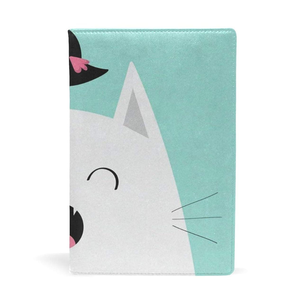 ハードリング耐えられる規範可愛い 猫 ブックカバー 文庫 a5 皮革 おしゃれ 文庫本カバー 資料 収納入れ オフィス用品 読書 雑貨 プレゼント耐久性に優れ