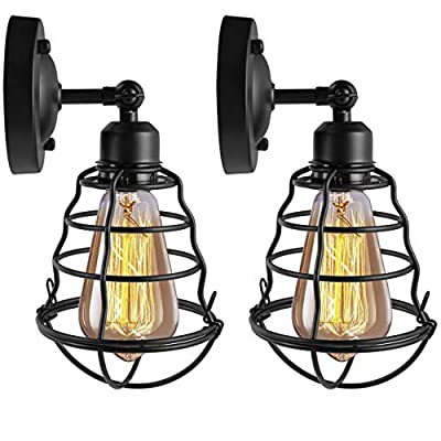 HXMLS Rustic Wire Cage Wall Sconce 2Pack,Black Industrial Hardwire Wall Lighting Fixture, Vintage Style E26 Base Metal Wall Lighting Fixture for Headboard Bedroom Farmhouse Garage Porch