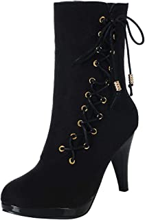 ◕。 New Women Lace-Up Solid Color Suede Ankle Boots Round Toe High Heels Boots Elegant Strap Short Boots
