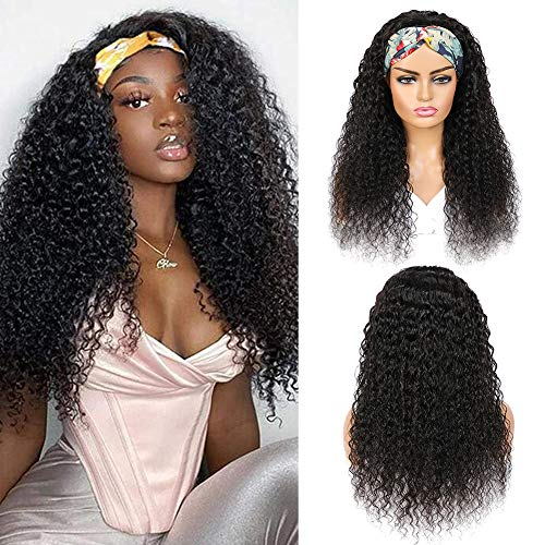 Tmbitto Curly Human Hair Wigs Parrucca Capelli Umani Naturale Ricci Kinky Curly No Lace Front Human Hair Headband Wigs Parrucche per capelli umani reali Glueless 150% Density Natural Color 24 inch