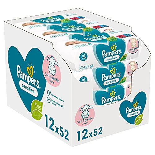 Pampers Sensitive Baby Feuchttücher, 624 Tücher (12 x 52) Für Empfindliche Babyhaut, Dermatologisch Getestet, Baby Erstausstattung Für Neugeborene