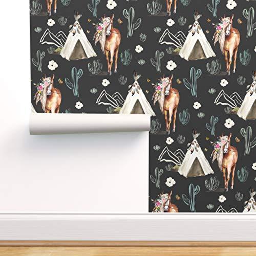 Blumen, Pferd, Boho, Pony, Tipi, Aztekisch, Indigen Spezialangefertigte Vorgekleisterte Tapete 61 cm x 310 cm von Spoonflower