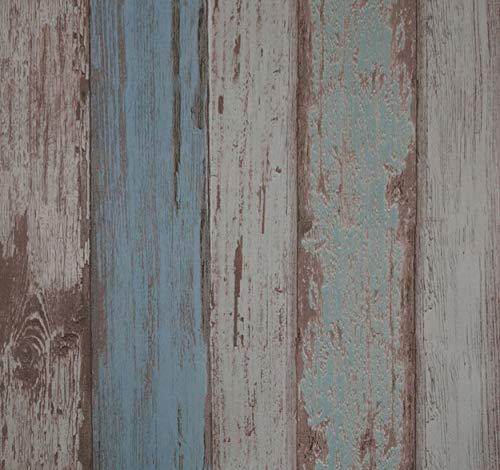 Papel Pintado Vintage Autoadhesivo Espesar 0.45mm Duradero Impermeable Vinilo PVC Pegatina de Muebles, Imitacion madera Azul, 53x565cm