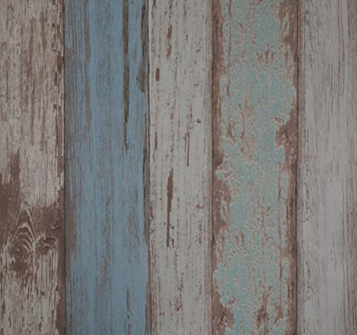 Arthome Papel Pintado Vintage Autoadhesivo Espesar 0.45mm Duradero Impermeable Vinilo PVC Pegatina de Muebles, Imitacion madera Azul, 53x565cm