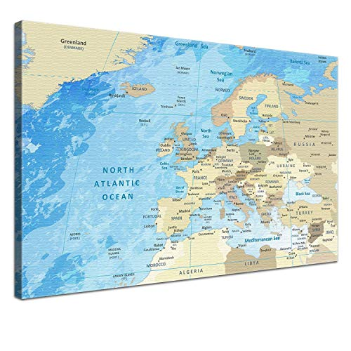 "LANA KK – Europakarte Leinwandbild mit Korkrückwand zum pinnen der Reiseziele ""Europakarte Frozen"" - englisch - Kunstdruck-Pinnwand Globus in blau, in 100x70cm"