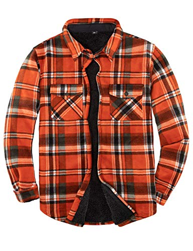 Men's Sherpa Fleece Lined Flannel Shirt Jacket for Men Warm Brushed Plaid Shirt-Jac(All Sherpa Fleece Lined) Orange XL