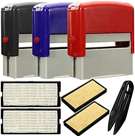 LyhomeO Personalised Self Inking Rubber Stamp Kit Business Name Address