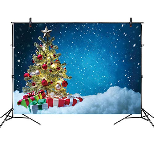 LB Christmas Backdrops for Photography 7x5ft Vinyl Christmas Tree Blue Sky Background Snow Winter Photo Backdrop for Party Customized Photo Booth Studio Props