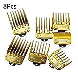 XTR Professional Limit Comb - Guía de Corte Peines 1.5/3 / 4.5/6/10/13/15 / 19mm Set Se Adapta a Todas Las cortadoras de tamaño Completo 8PCS, Dorado