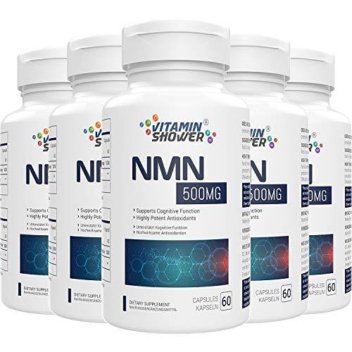 NMN Nicotinamide Mononucleotide Supplement 500mg, natürliches Boost NAD+ Level für Zellreparatur, Energie & Anti Aging, 300 Kapseln (5er Pack)