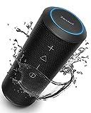 Bluetooth Speaker, Zamkol ZK606 Wireless Speaker with 360°Stereo Sound, Enhanced Bass, 24W, 20H Playtime, Built-in Mic, Waterproof Portable Speaker for Travel, Outdoors, Sport - Black