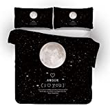 LJJYF 3D Printed Polyester Cotton Moon, Feather Bedding Set, Duvet Cover and...