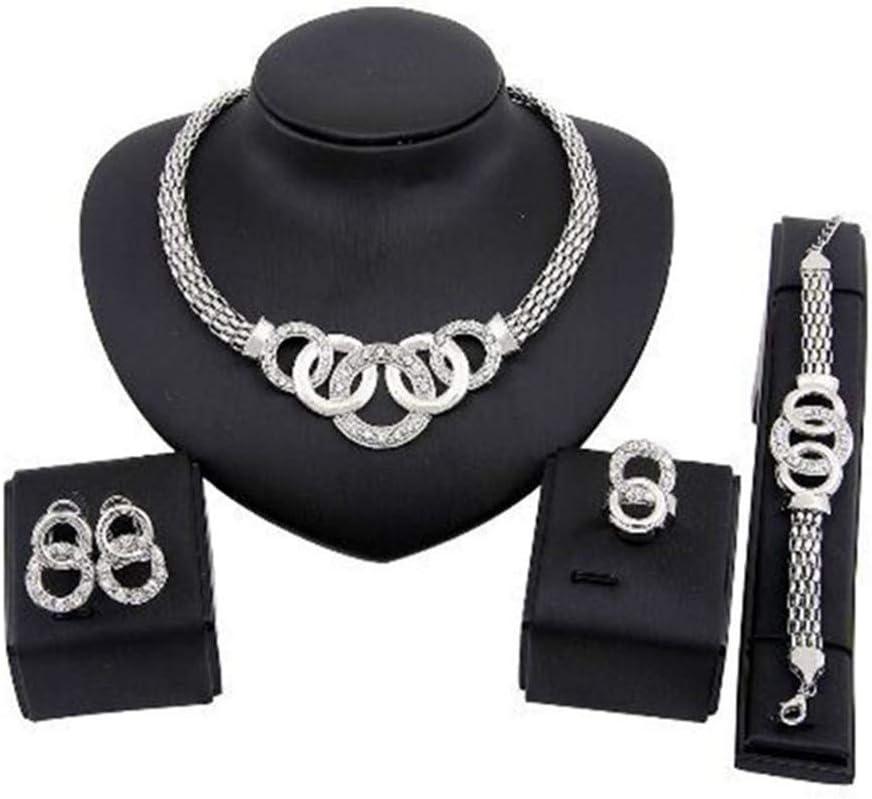 Idiytip 4Pcs Women Jewelry Set Rhinestone Crystal Necklace Earring Bracelet Set Accessories