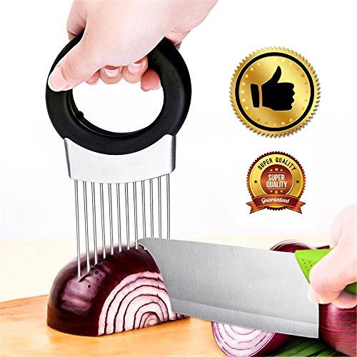 The Best Onion Holder for Slicing All-In-One | Potato holder | Odor Remover | Vegetable Slicer | Onion Chopper Stainless Steel