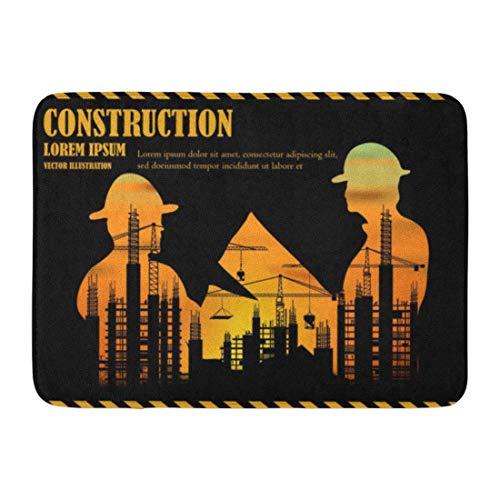 Bad Matte visuelle Zeichnung Silhouetten Bauindustrie Ingenieur Worker Team zur Arbeitssicherheit auf hohe Badezimmer Dekor Teppich