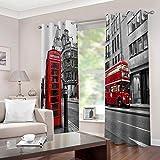 LIGAHUI Cortinas Opacas 3D Calle Londres 2X 140x 245cm(An x Al) Cortinas 2 Paneles 3D Cortinas con Ojales para Habitación Cortinas Termicas Aislantes Frío y Calor