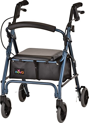 """NOVA Medical Products GetGo Petite Rollator Walker for Height 4'0"""" - 5""""4"""", Blue, 1 Count"""