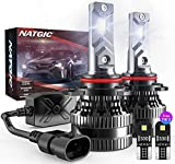 NATGIC 9012 Lampadine per Fari a LED con 2PCS Lampadine LED T10, 300% di Luminosità Kit di Conversione HIR2 con Driver Intelligente EMC Aggiornato, 12000LM Xenon Bianco 6500K (Totale 4 Lampadine LED)