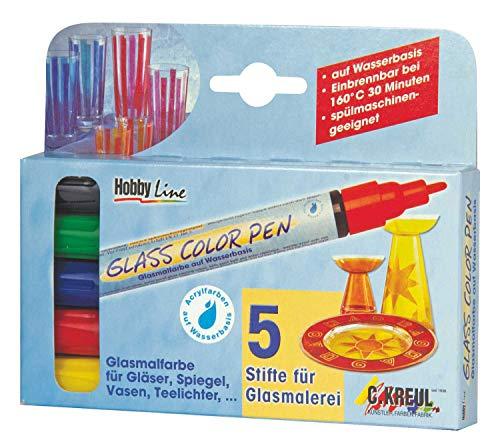 Kreul Glass Color Pen, transparenter Glasmalstift auf Wasserbasis