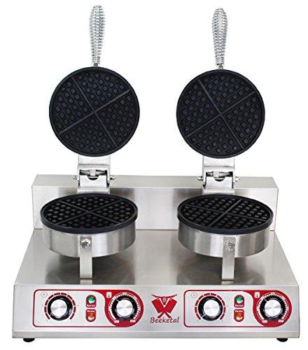 Beeketal \'BWA-2\' Profi Gastro Doppel Waffeleisen mit antihaftbeschichteten Backplatten (2 x 4 geteilt rund), Waffelautomat für belgische Waffeln mit Edelstahl Gehäuse, 50-300 °C stufenlos