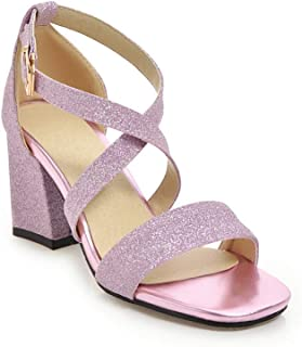 BalaMasa Womens ASL05994 Pu Block Heels
