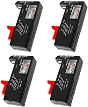 4 Pack Battery Tester, Universal Battery Checker for AA/AAA/C/D / 9V / 1.5V Button Cell Batteries