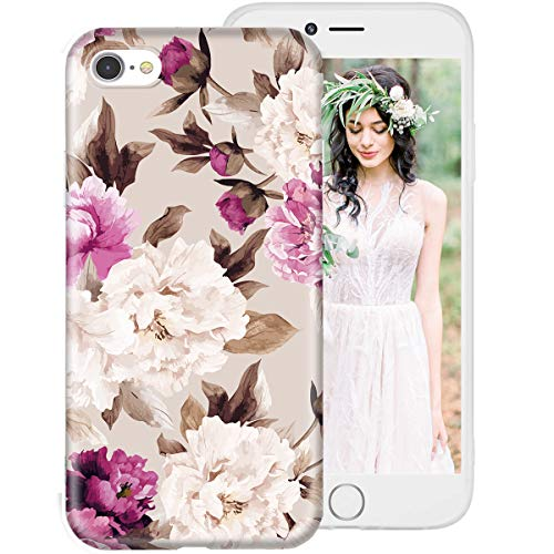 iPhone 6S Case,iPhone 6 Case for Girls Women,Floral Flower Cute Design Soft Silicone Protective Phone Case Cover with Red & White Flowers + Brown Leaves Pattern for Apple iPhone6S/iPhone6