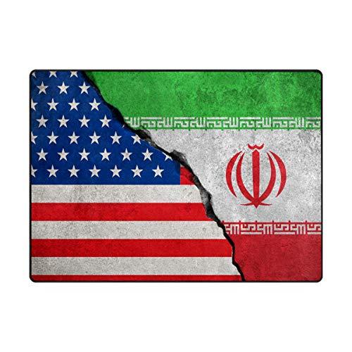 """DXG1 Iranian America Flag Alfombras de cocina antideslizante Área Alfombra cómoda Dormitorio Decorar Piso Niños Jugando Estera 6'8""""x4'10"""""""