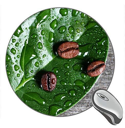 Kaffeebohnen Grünes Blatt Wassertropfen Drucken Rundes Desktop-Mauspad Gaming Rubber Mouse Pad