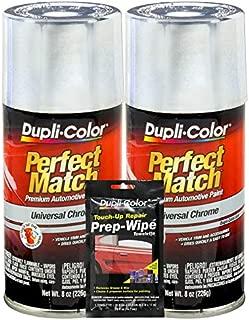 Dupli-Color Universal Chrome Exact-Match Automotive Paint - 8 oz, Bundles Prep Wipe (3 Items)