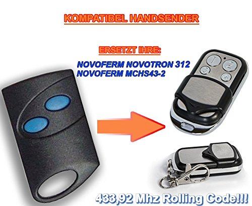 NOVOFERM NOVOTRON 312, MCHS43-2 compatibel handzender, 4-kanaals reservezender, 433,92 Mhz rolling code. Topkwaliteit vervangend apparaat. !