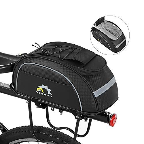 Lixada Fahrradtasche Fahrrad Gepäckträgertaschen, Isolierte Kühltasche Gepäckträger Fahrrad Sit Stammkühltasche, Ca. 36 * 18 * 15 cm, Schwarz