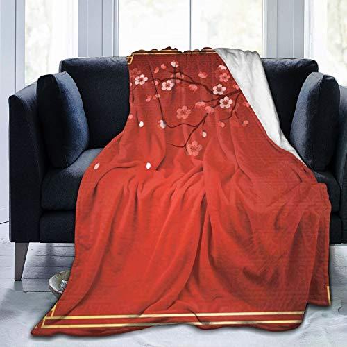 Manta mullida, rama floreciente de un cerezo en primavera con marco tradicional chino, ultra suave, manta para bebé, cama, cama, TV, cama de 152 x 127 cm