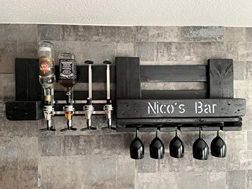 Personalisierte Wand-Bar in Schwarz mit 4cl Dosierspender, Schnapsproportionierer, Weingläser Halterung, Hausbar Geschenk zum Geburtstag für Männer und Frauen