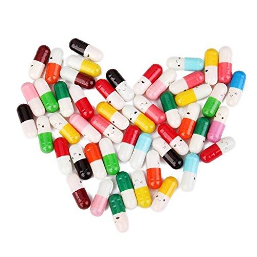 Romote 50 PC-Message in a Bottle Kapsel Schreiben Nette Liebe Freundschaft Farbe Pille-Geschenk (sendet zufällig)