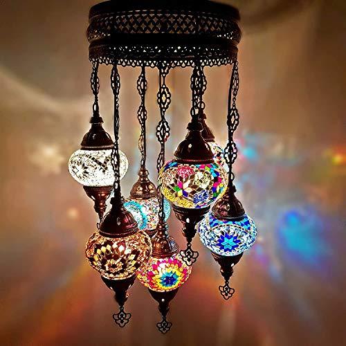 World Home Living Hecho a Mano Turkish Marroquí Arabe Oriental Bohemio Estilo Tiffany Mosaico de Vidrio Colorido Techo Colgante 7 Bola Candelabro Lámparas Luz Ce Aprobado GB Seguridad Estándar
