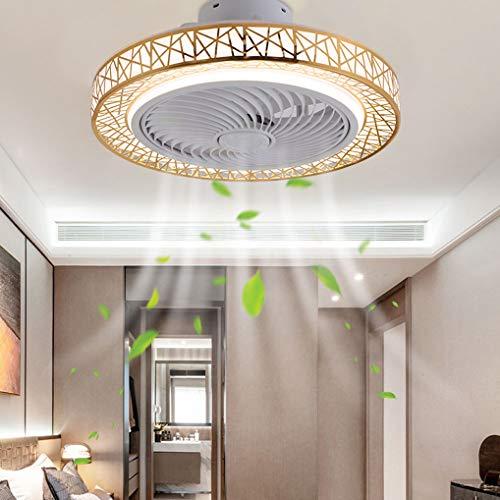 LANMOU LED Ventilador de Techo con Luz y Control Remoto, Invisible ventilador de techo silencioso Moderno Lámpara de Techo LED Regulable para Sala de Estar Dormitorio Comedor Habitación Infantil,Oro