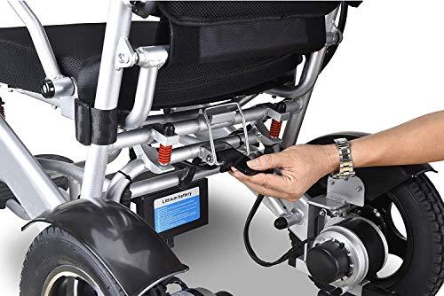 51U6tsv7wFL - WISGING 2020 Silla de ruedas eléctrica portátil plegable ligera plegable Deluxe Potente motor twin Silla de ruedas compacta con ayuda de movilidad - Pesa solo 59 lbs con batería - Soporta 286 lbs