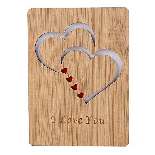 Tarjeta de felicitación de bambú con corazón,tarjeta de cumpleaños escribible,hecha a mano, de madera,para el Día de la Madre,de bambú premium,idea de regalo para mujeres,mamá
