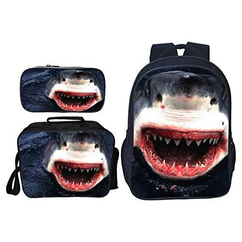 JHGJHG Mochilas Infantiles Tiburón Feroz Bolso De Escuela para Niños Mochila De Estudiante De Animales Traje De Tres Piezas Mochila,7