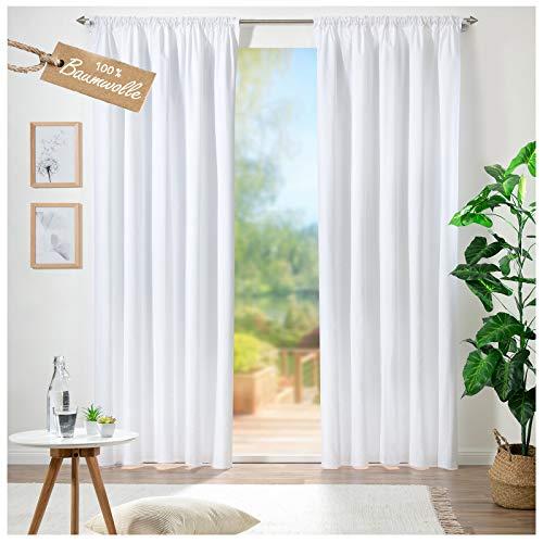 heimtexland ® Vorhang 100% Baumwolle Leinen Struktur Matt Blickdicht Lang HxB 280x140 cm Dekoschal mit Kräuselband und Tunnelzug Weiß Typ692