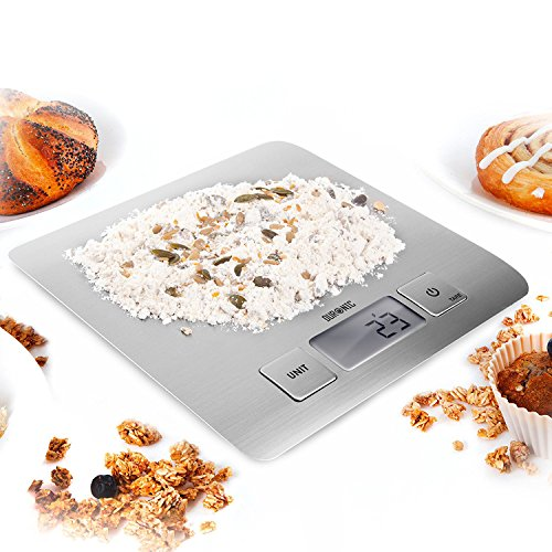 Duronic KS1009 Báscula Digital para Cocina de Acero inoxidable - Balanza de Alimentos Multifuncional - Peso para Comida Compacto - Pantalla Digital con Retroiluminación - 5 kg / 11 lbs