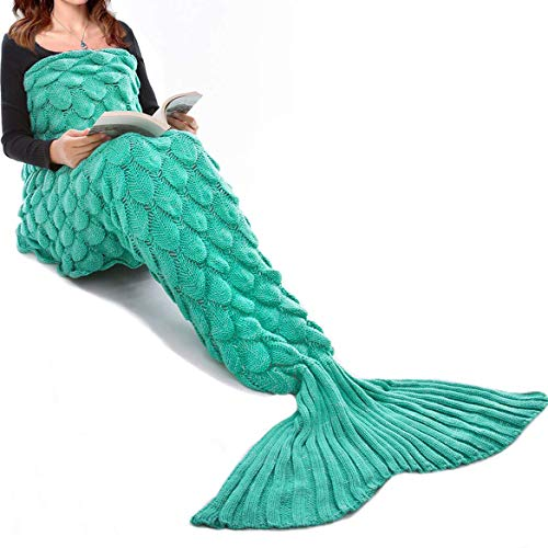 Image of the JR.WHITE Mermaid Tail Blanket for Kids, Hand Crochet Snuggle Mermaid,All Seasons Seatail Sleeping Bag Blanket Green